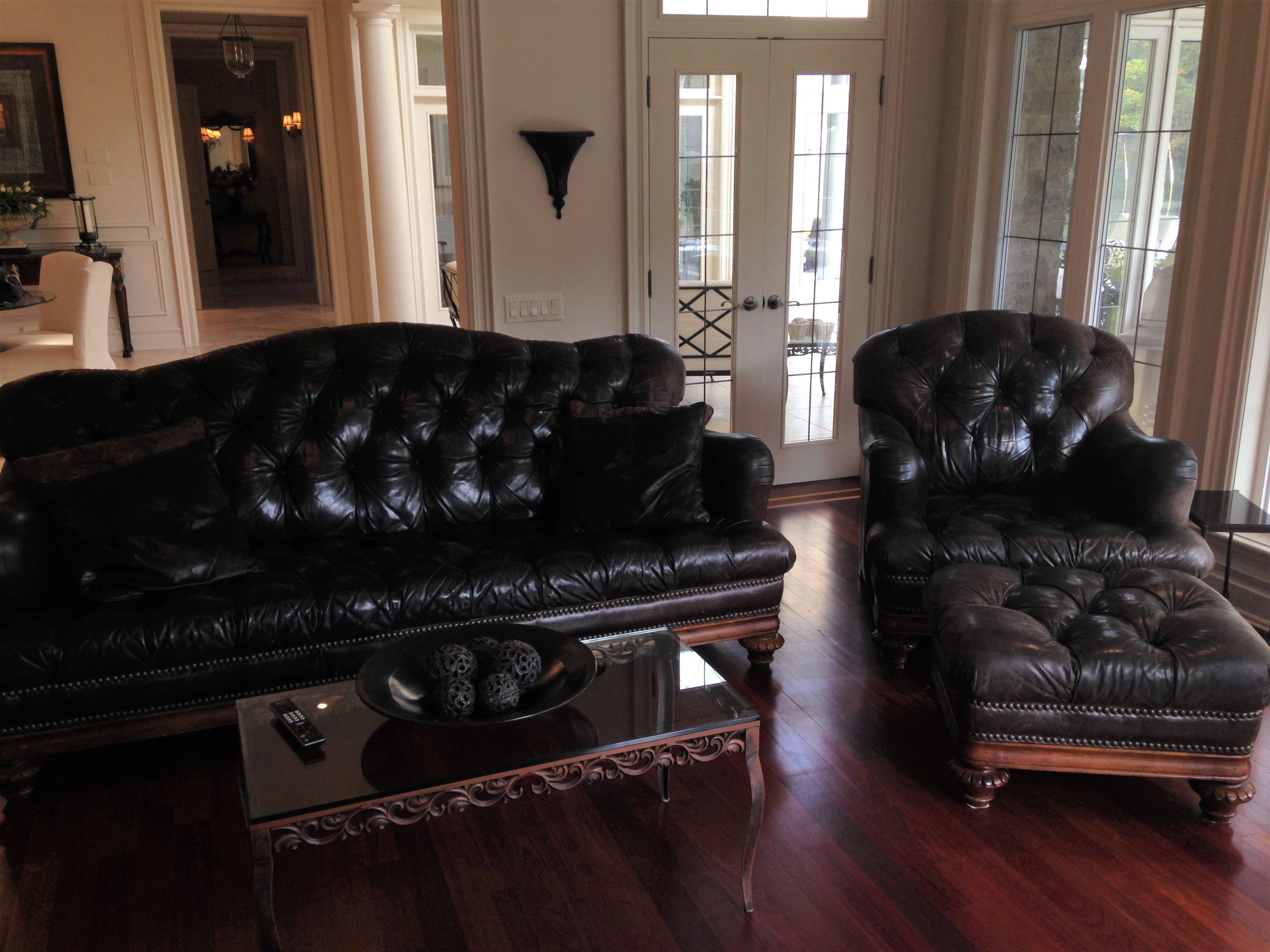 British Gentry Leather Sofa Chair And Ottoman Manotick